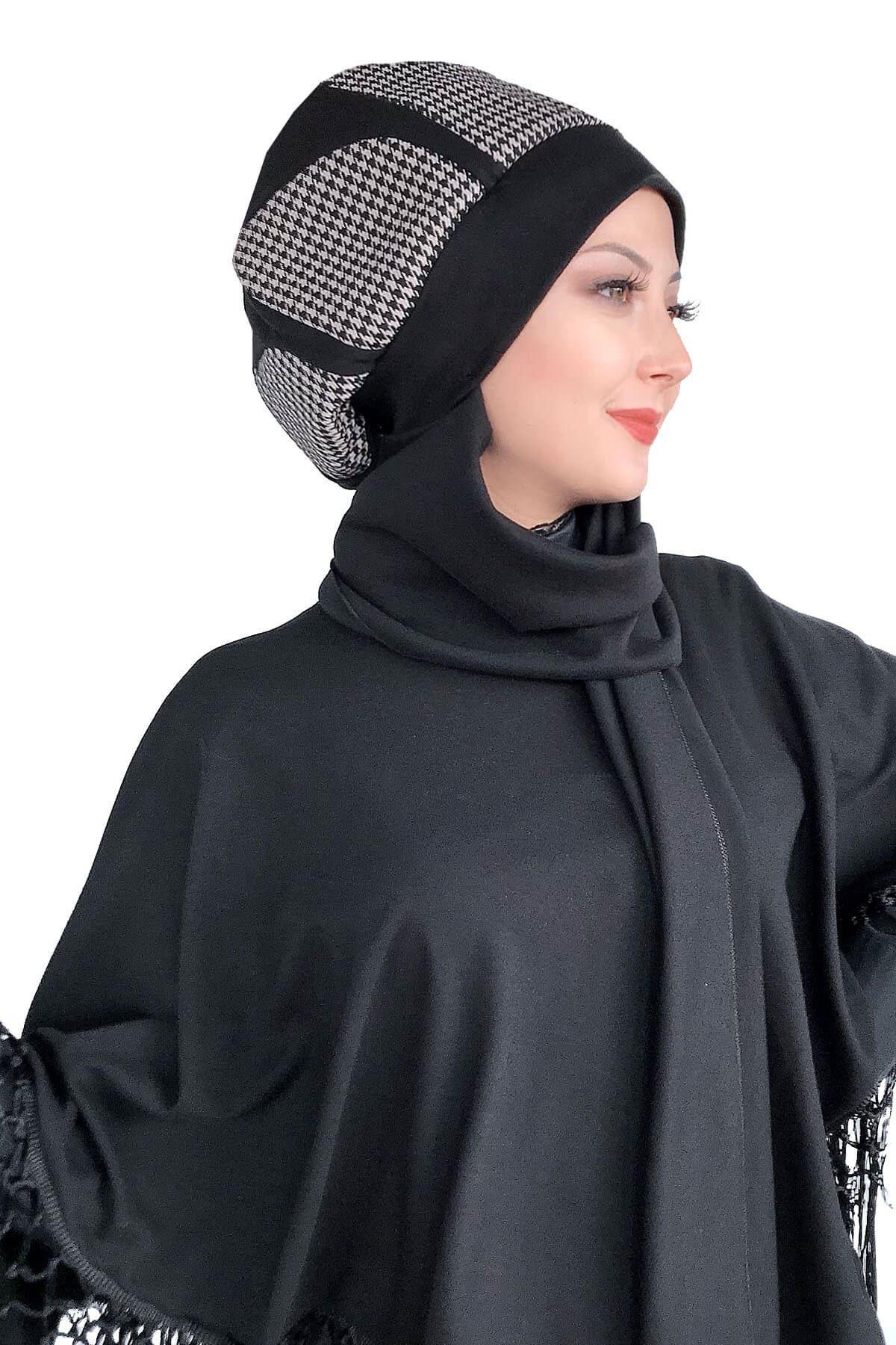 Siyah Atkılı Kahverengi Damla Desenli Bere Şal&Siyah Atkılı Dantelli Panço Kombin