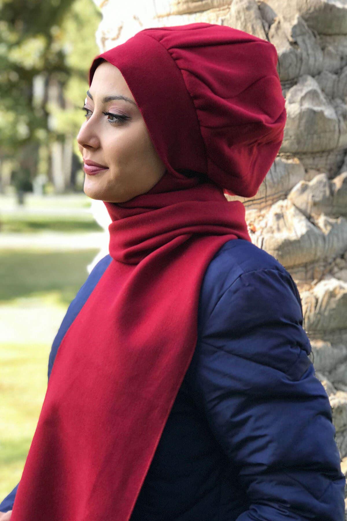 Elif Model Yakut Rengi Kaşe Atkılı Bere Şal