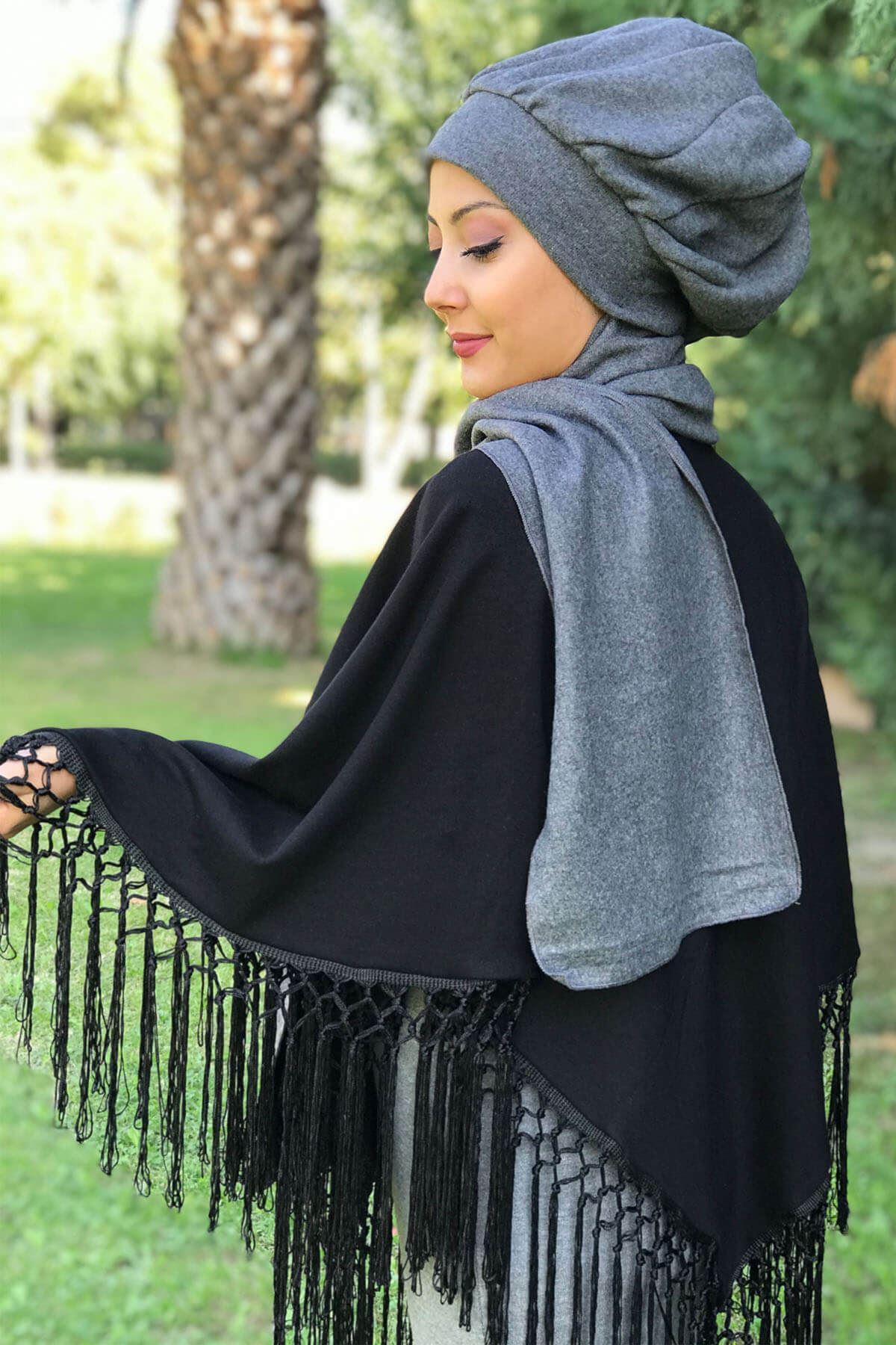 Siyah Püsküllü Panço& Koyu Gri Elif Model Düz Gri Selanik Atkılı Bere Şal Kombin