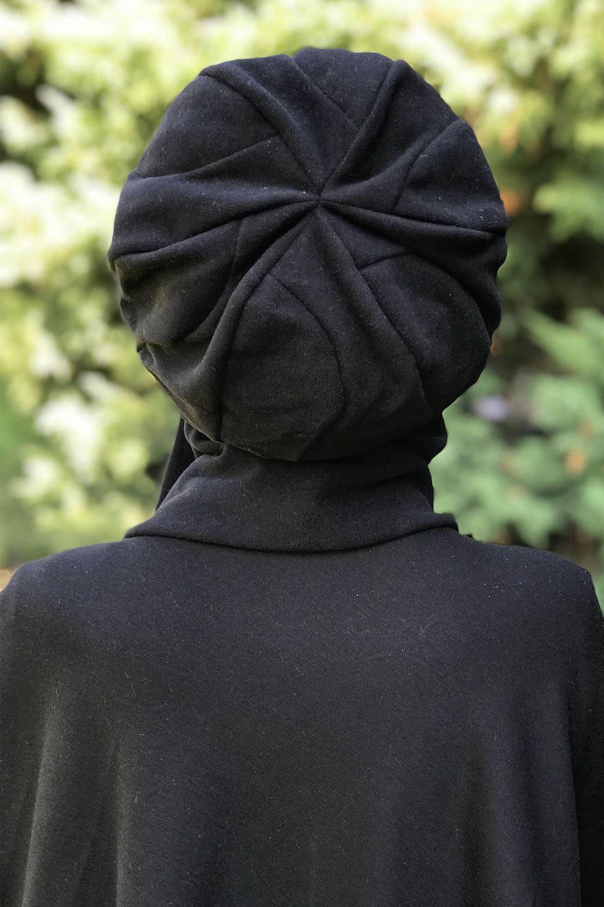 Siyah Panço& Siyah Elif Model Selanik Atkılı Bere Şal Kombin