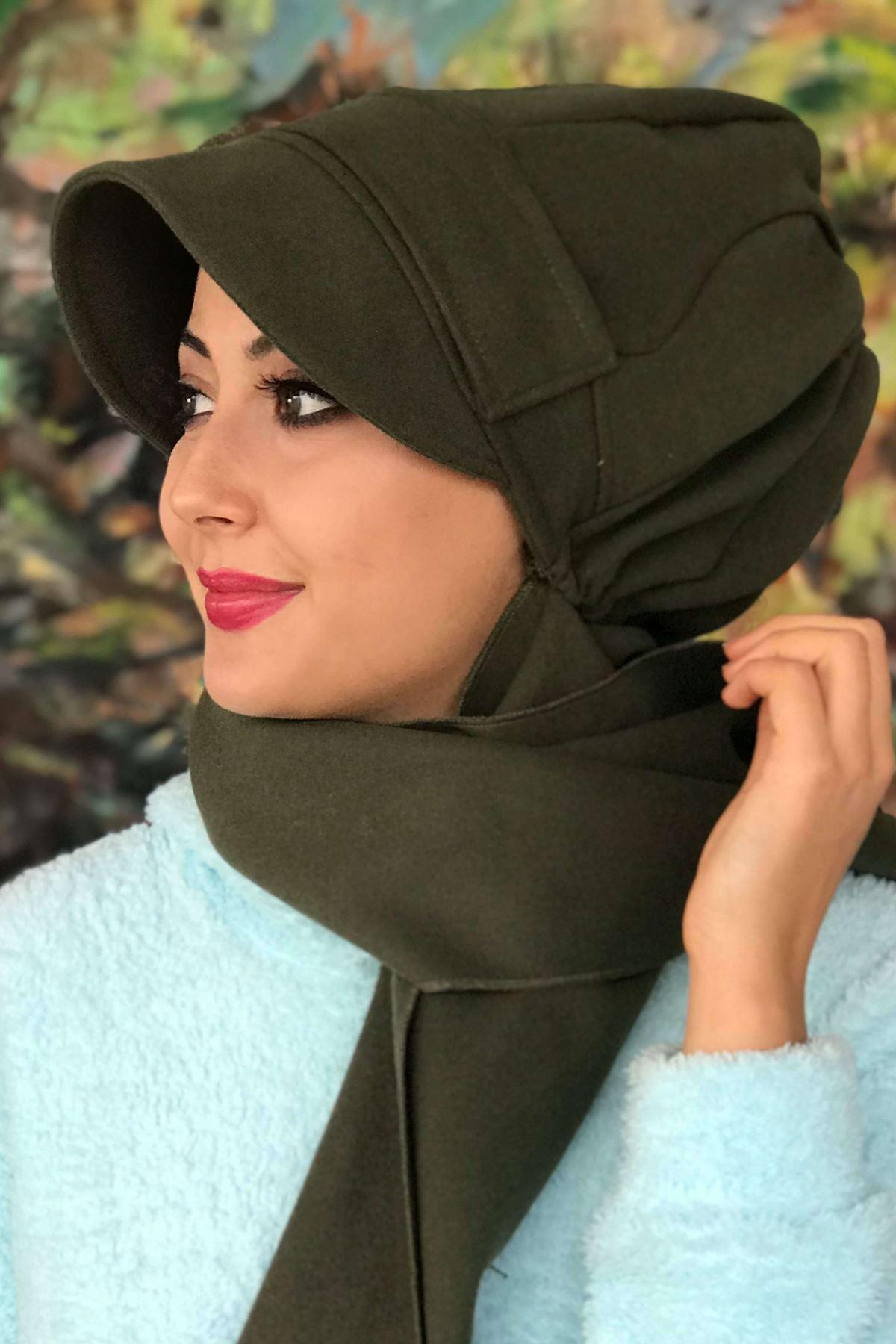Haki Yeşil Tokalı Kaşe Şapka