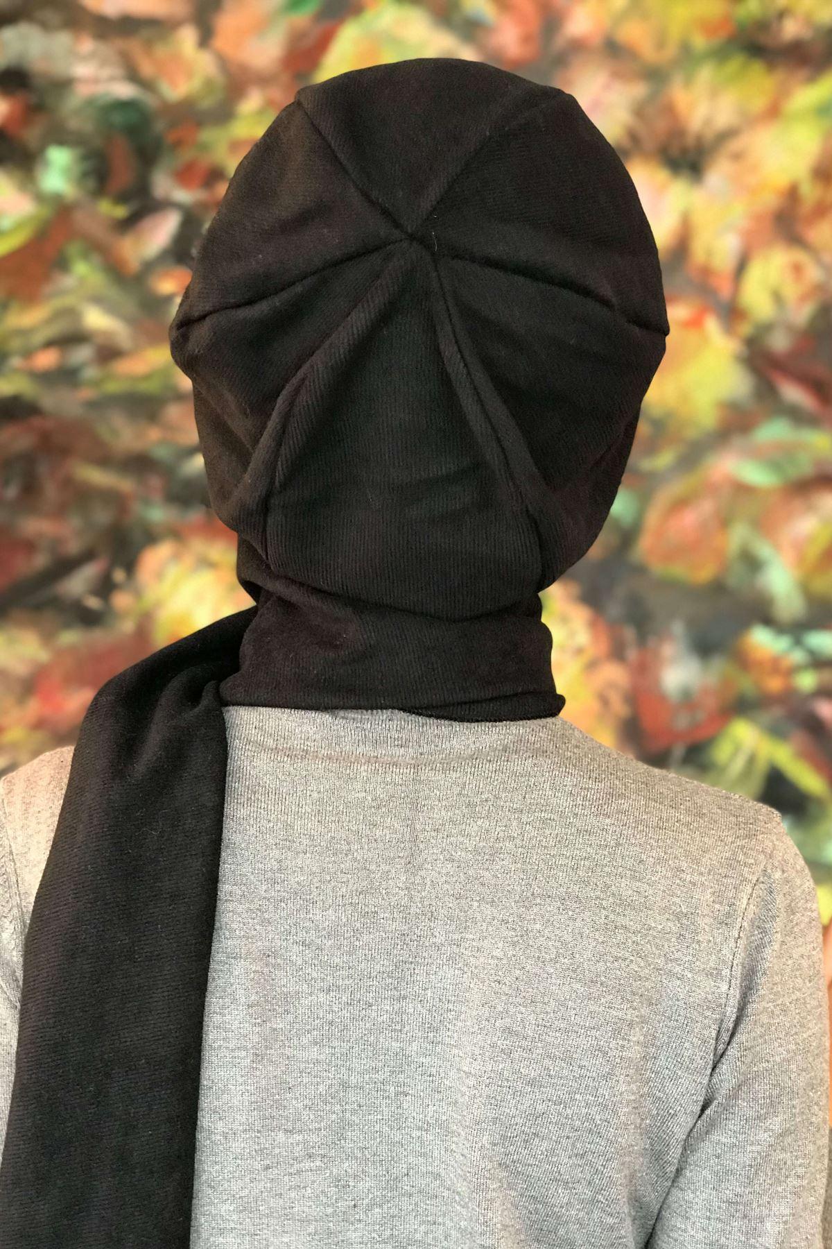 Krem Tokalı Siyah Kendinden Atkılı  Bere Şal Asil Model