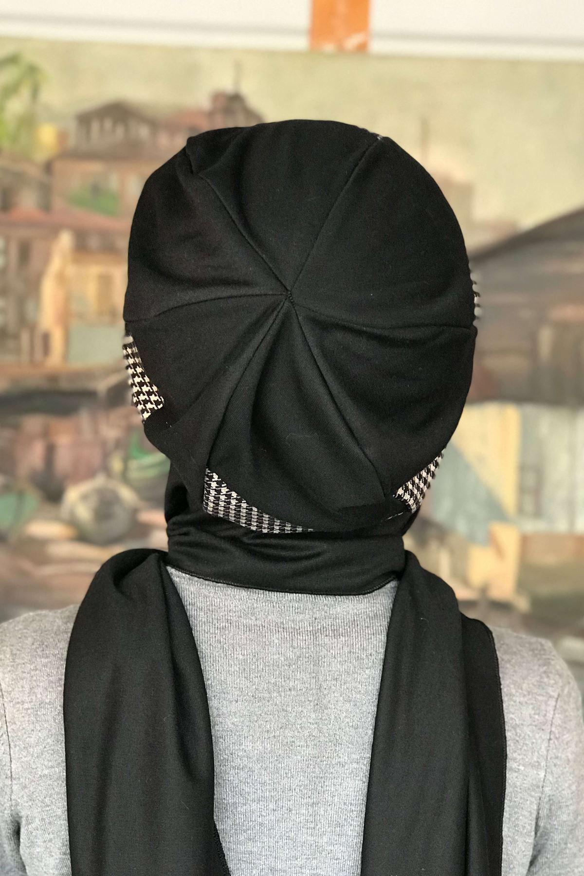 Siyah Kazayağı Tokalı Atkılı Bere Şal Çarkıfelek Model