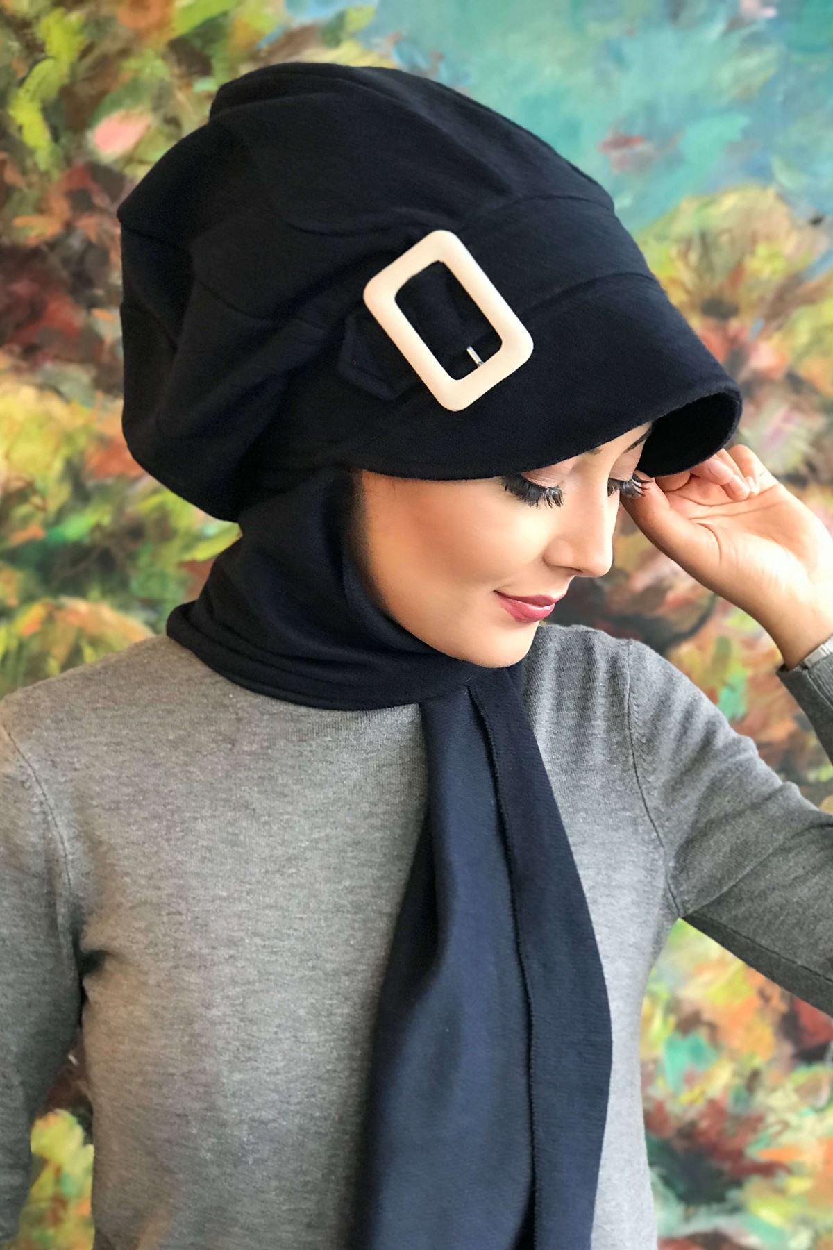Koyu Lacivert Tokalı Kendinden Atkılı Şapka Şal
