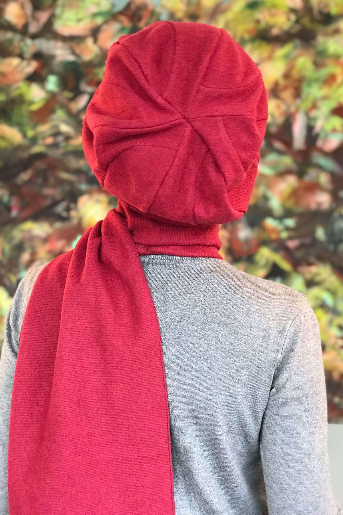 Bordo Tokalı Kendinden Atkılı Şapka Şal Asil Model