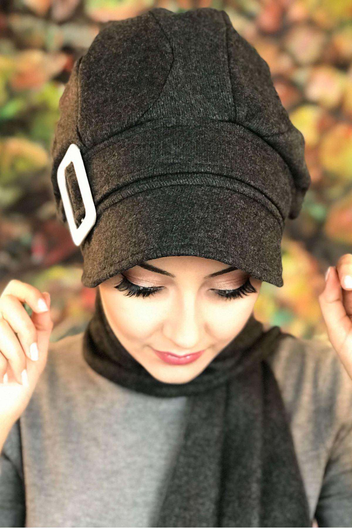 Antrasit Tokalı Kendinden Atkılı Şapka Şal Asil Model