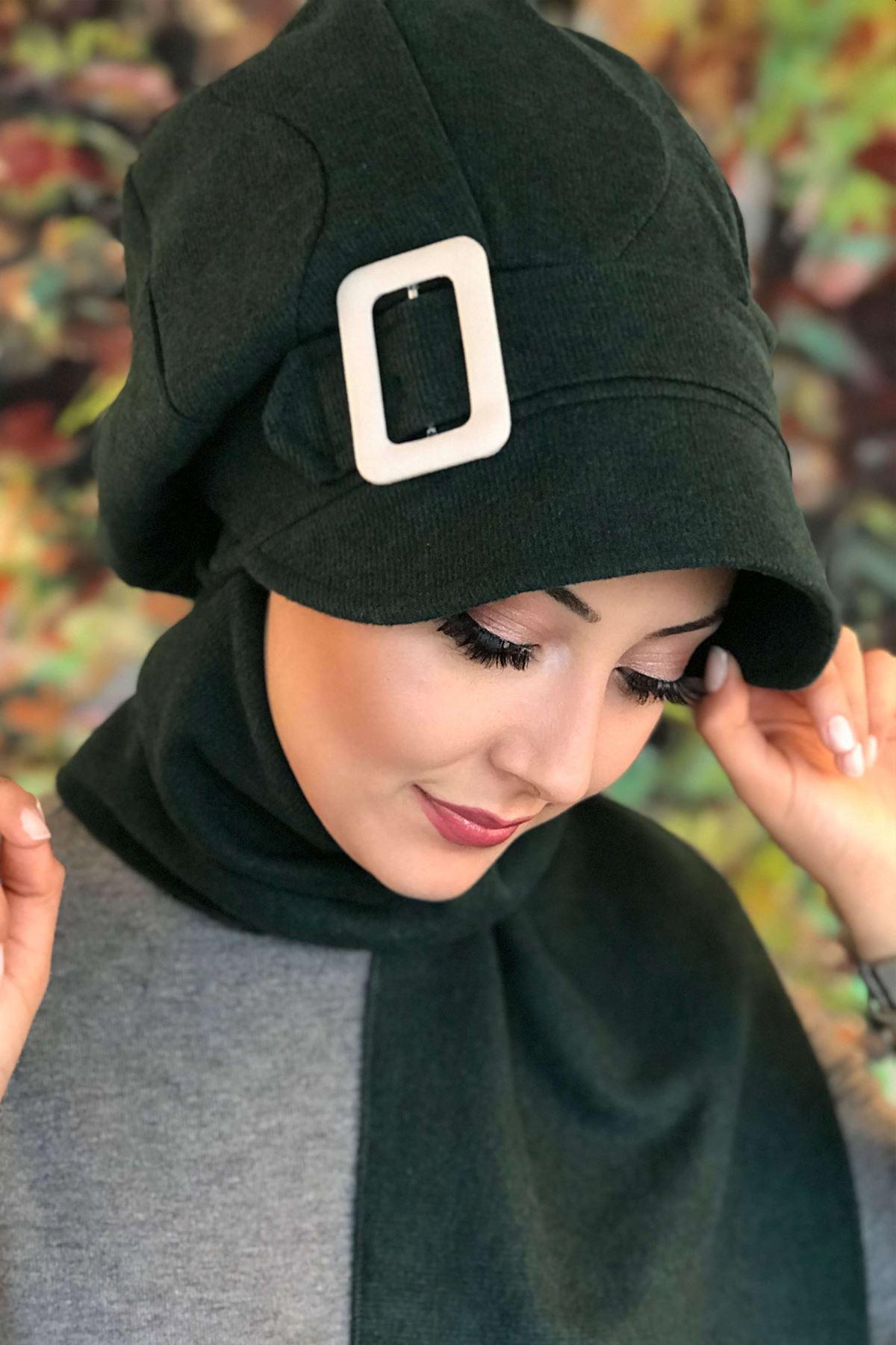 Tokalı Yeşil Kendinden Atkılı Şapka Şal Asil Model