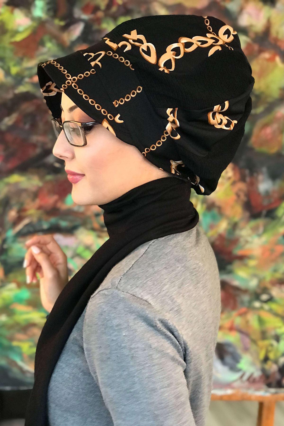 Zincir Desenli Atkılı Şapka