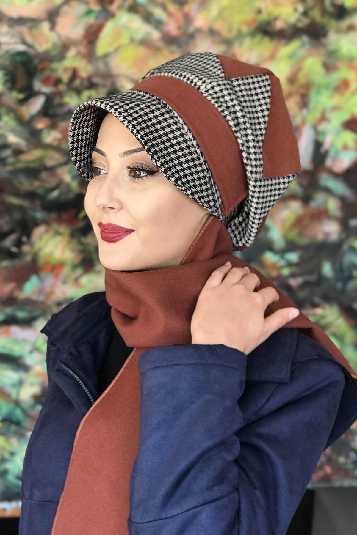 Tarçın Renkli Kazayağı Şapka Şal
