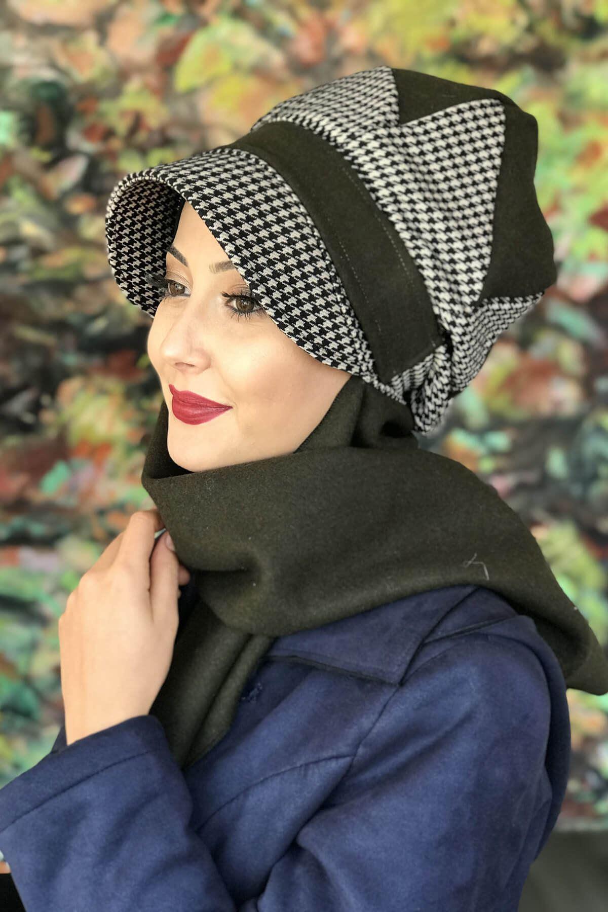 Haki Renkli Çarkıfelek Model Kazayağı Şapka Şal
