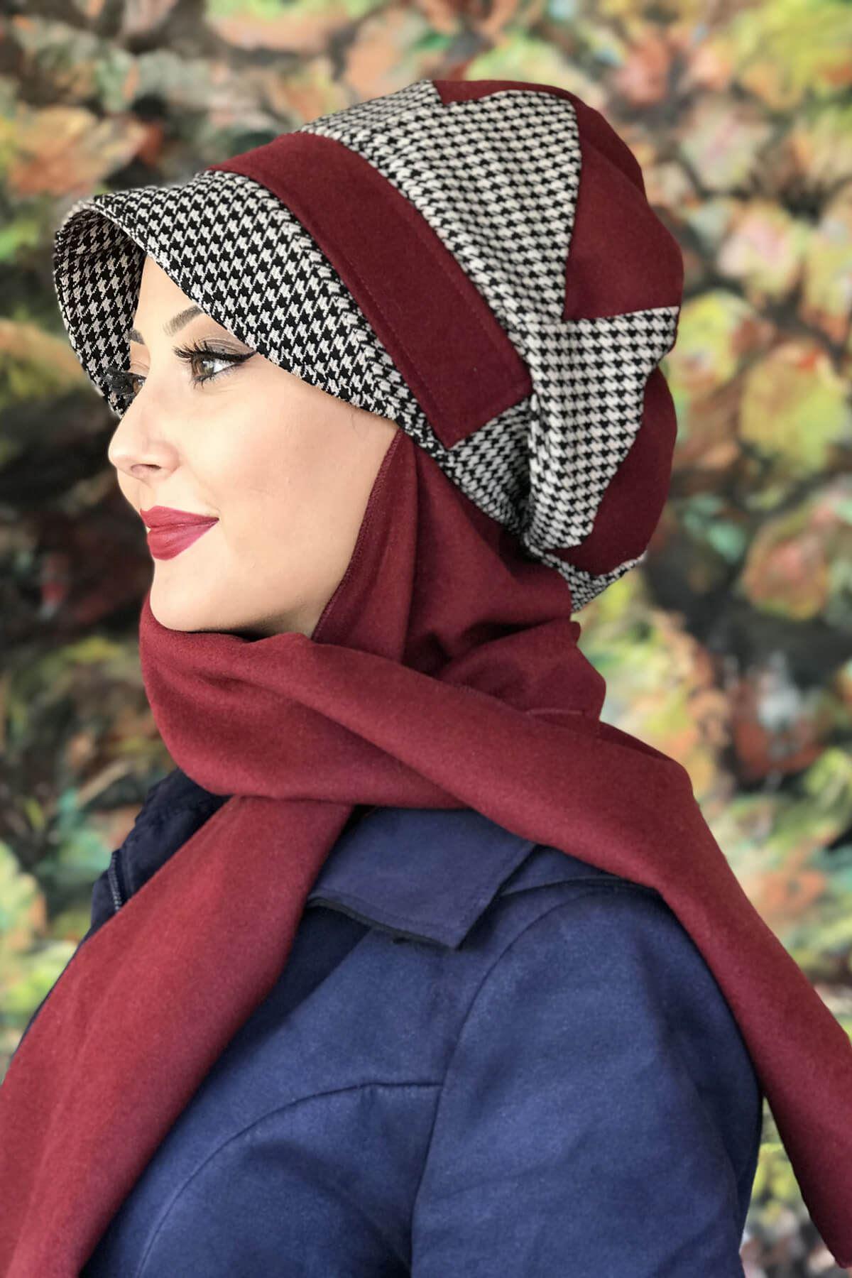 Bordo Renkli Kazayağı Çarkıfelek Model Şapka Şal