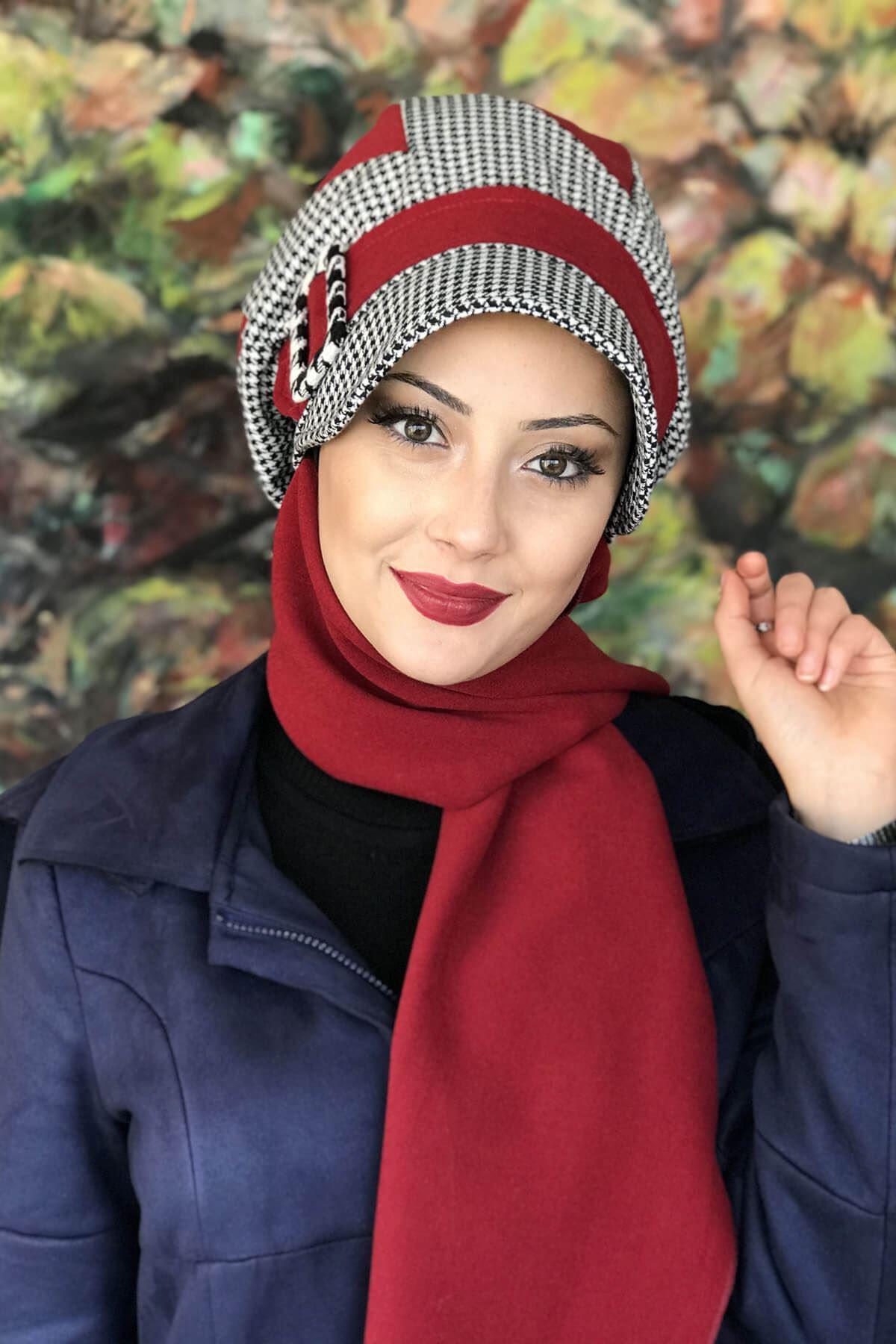 Kızıl Renkli Kazayağı Çarkıfelek Model Şapka Şal