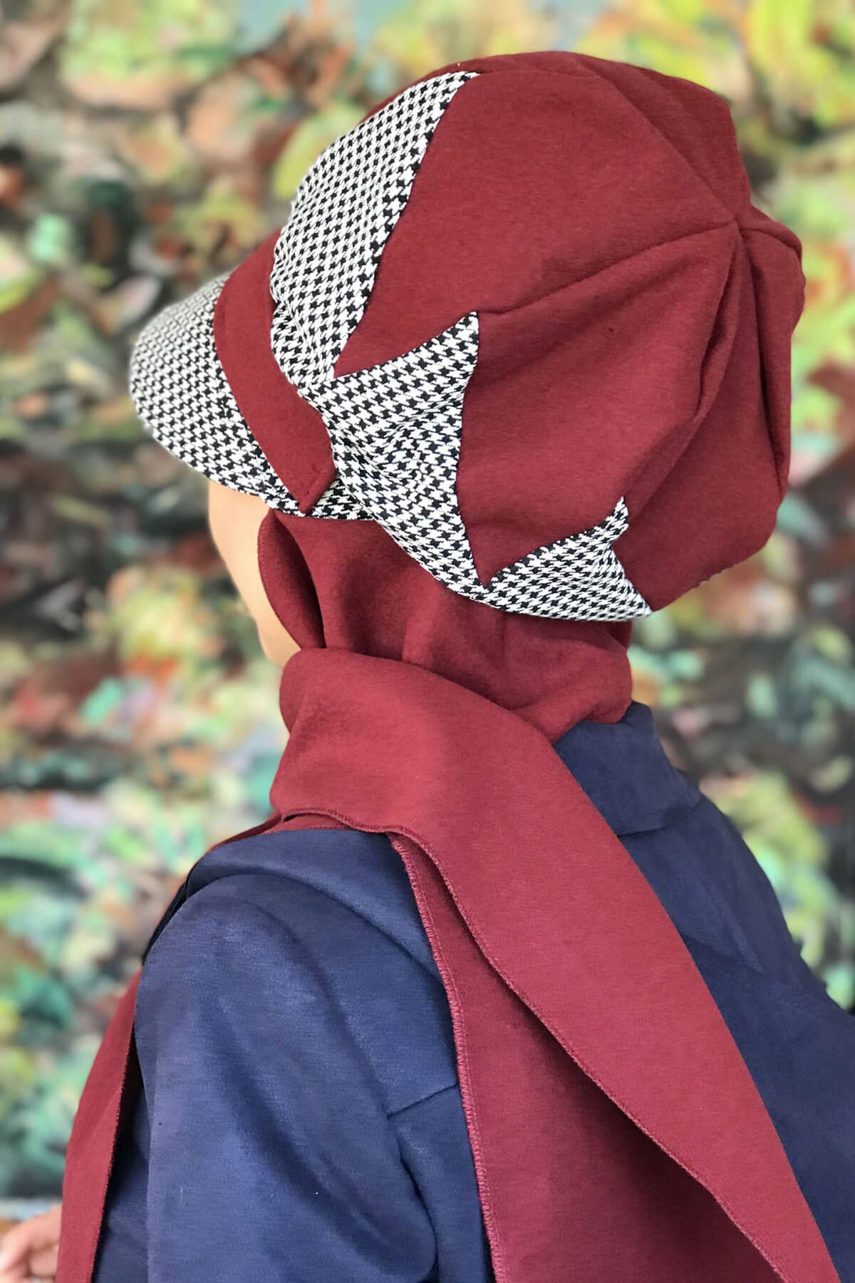 Vişne Çürüğü Renkli KazayağıTokalı Şapka Şal