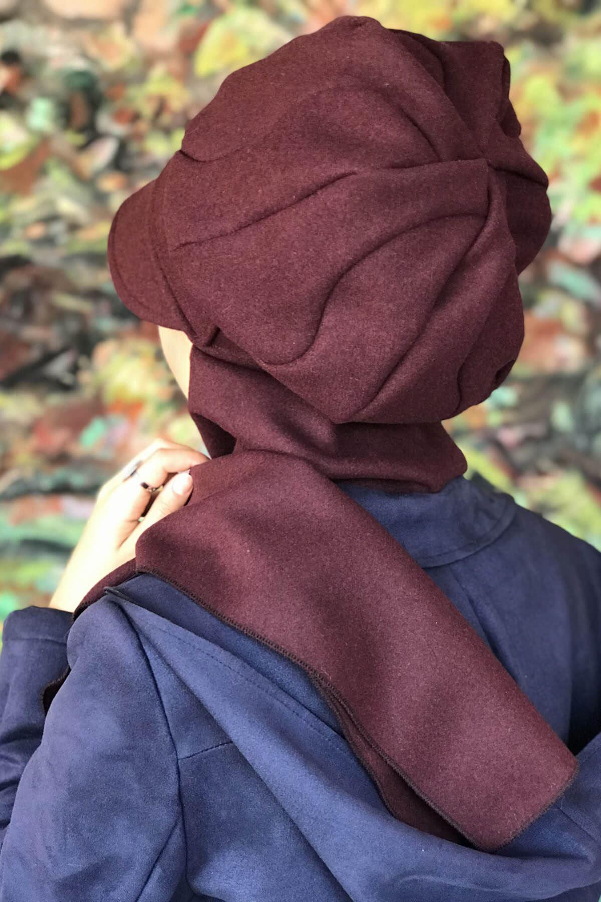 Mor Renkli Elif Model Yuvarlak Tokalı Şapka Şal