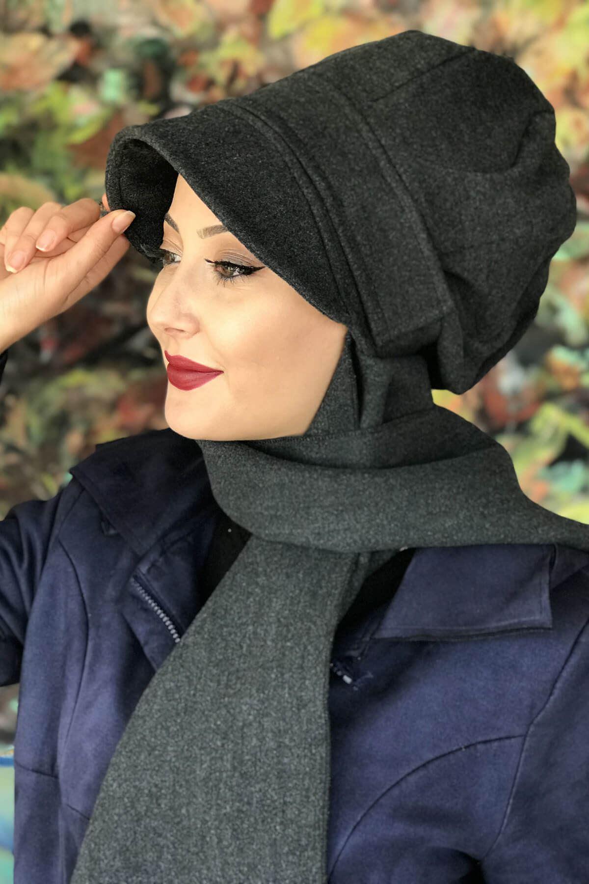 Koyu Antrasit Renkli Elif ModelYuvarlakTokalı Şapka Şal