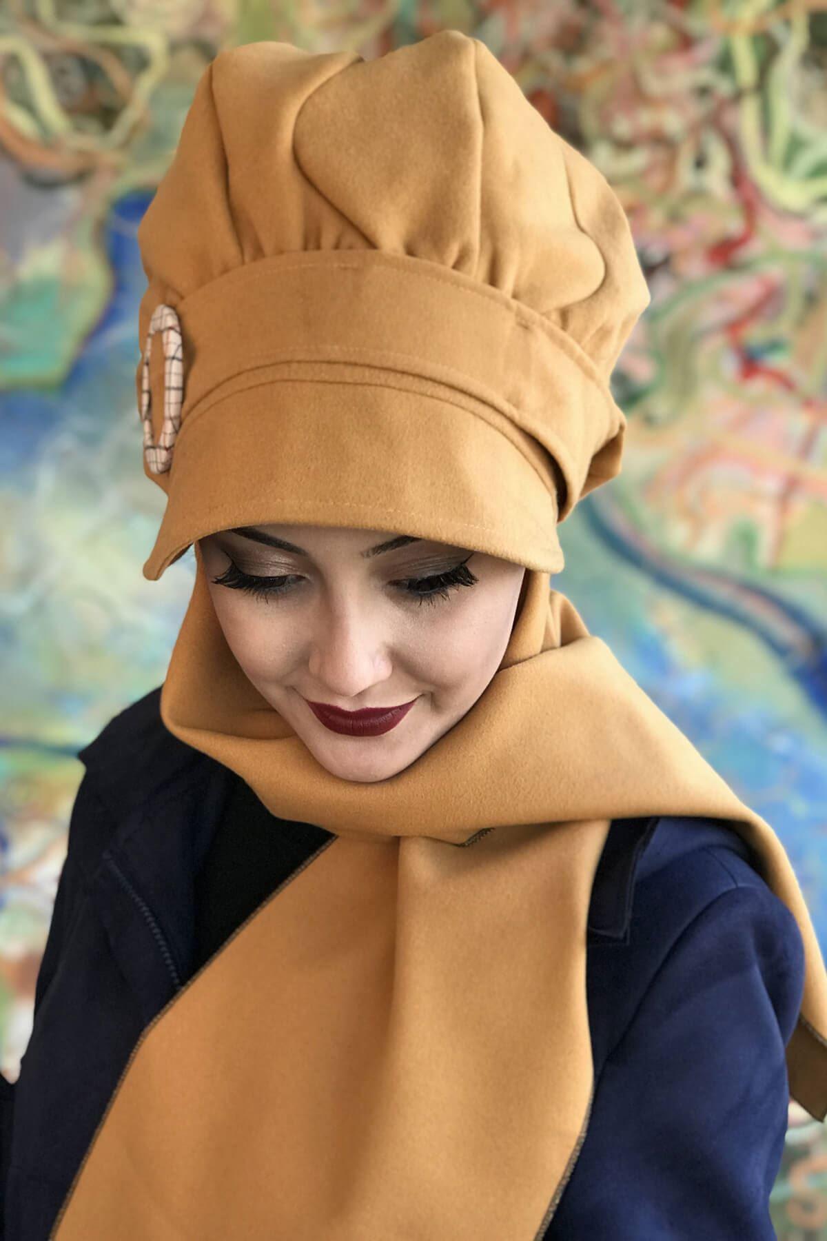 Kavuniçi Renkli Yuvarlak Tokalı Şapka Şal Elif Model