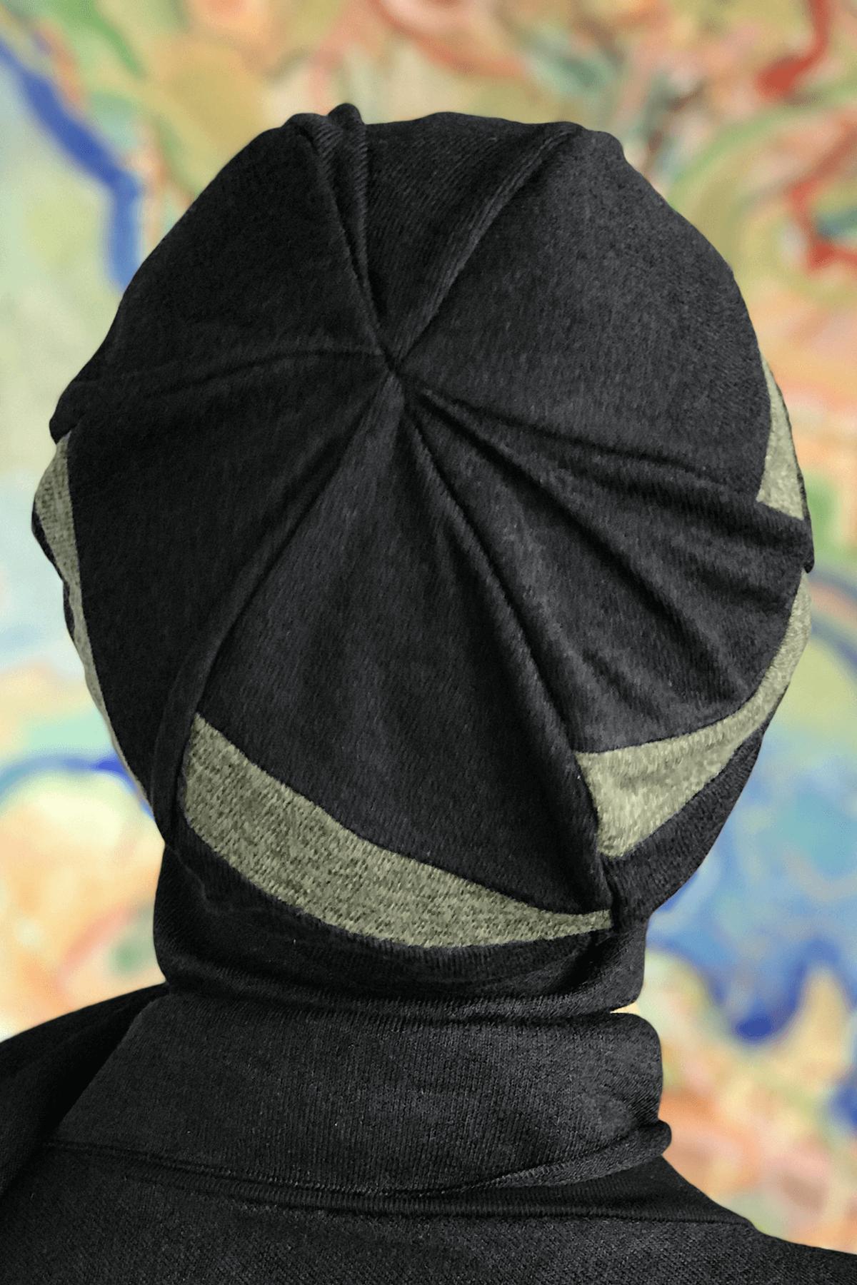 Siyah Çarkıfelek Model Yeşil Şeritli Tokalı Bere Şal