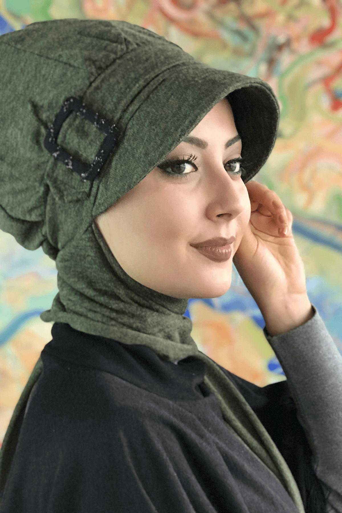 Kına Yeşili Tokalı Atkılı Şapka Şal