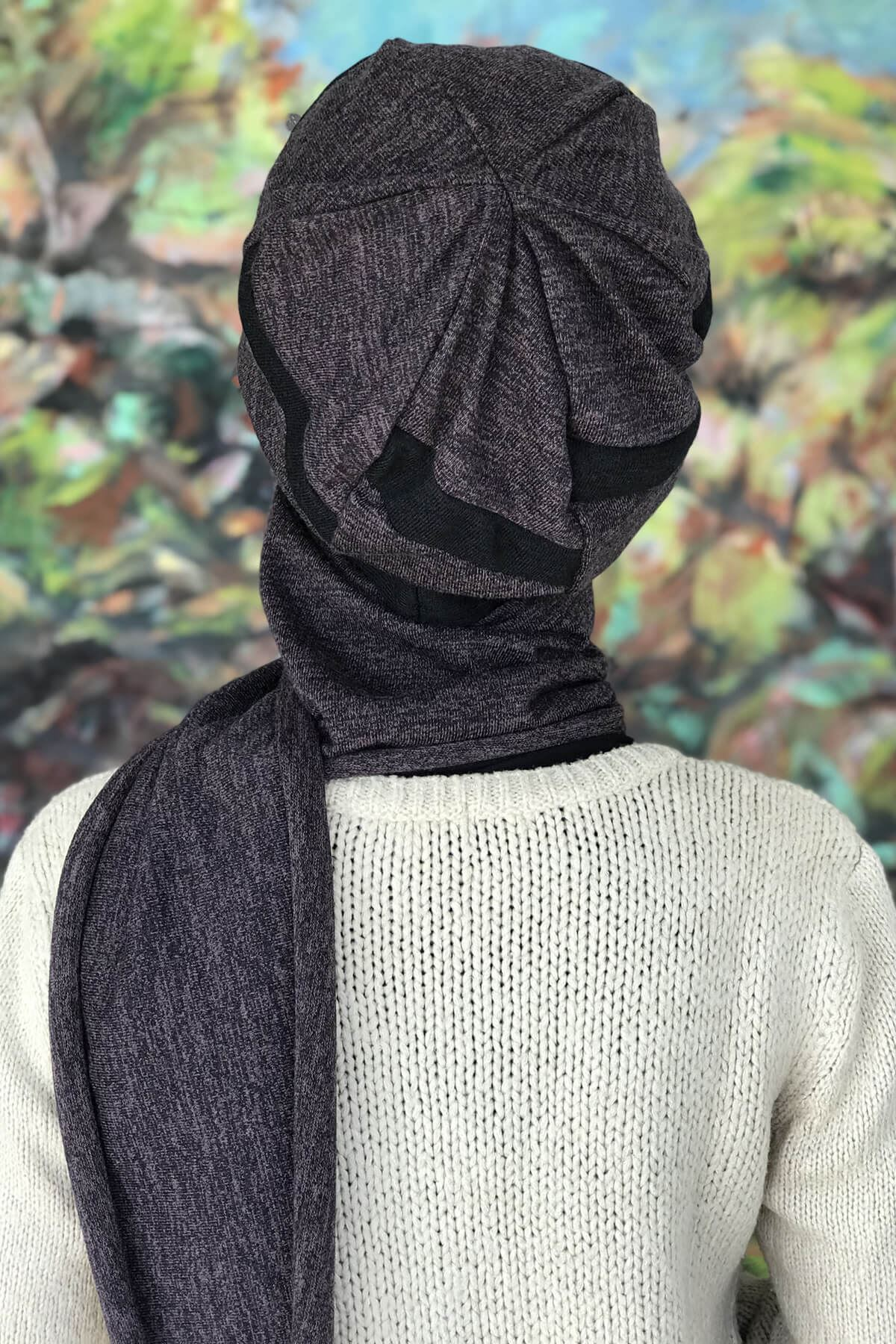 Kırçıllı Mor Tokalı Siyah Şeritli Atkılı  Bere Şal