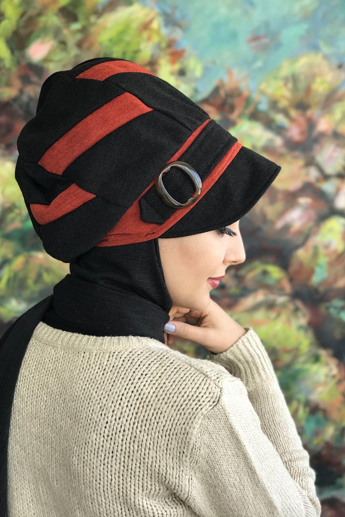 Siyah Tokalı Atkılı Tarçın Bakır Şapka