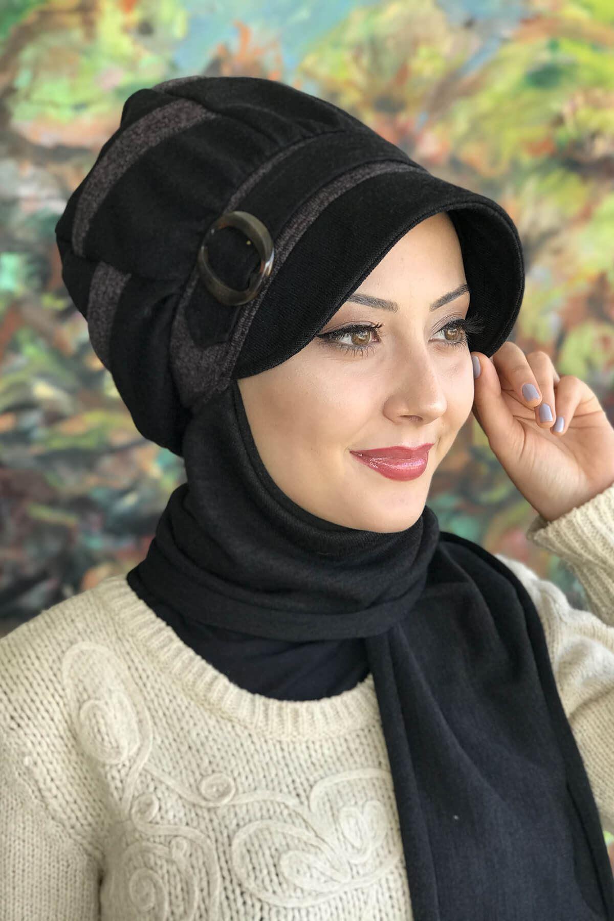 Siyah Renkli Tokalı Atkılı Küllü Mor Şeritli Şapka