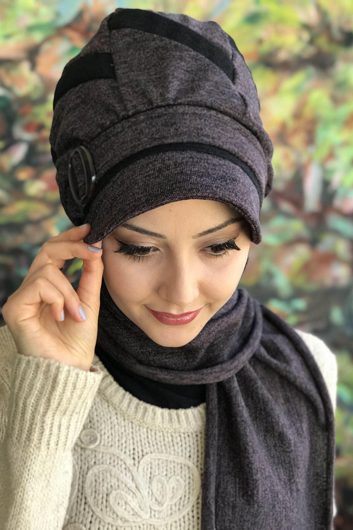 Küllü Mor Rengi Tokalı Atkılı Siyah Şeritli Şapka