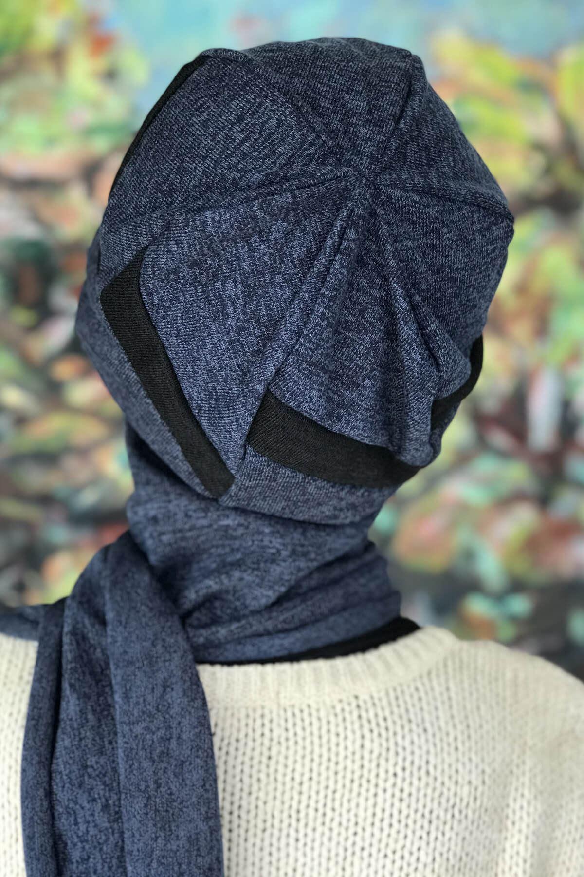 Puslu Mavi Siyah Şeritli Atkılı Tokalı Bere