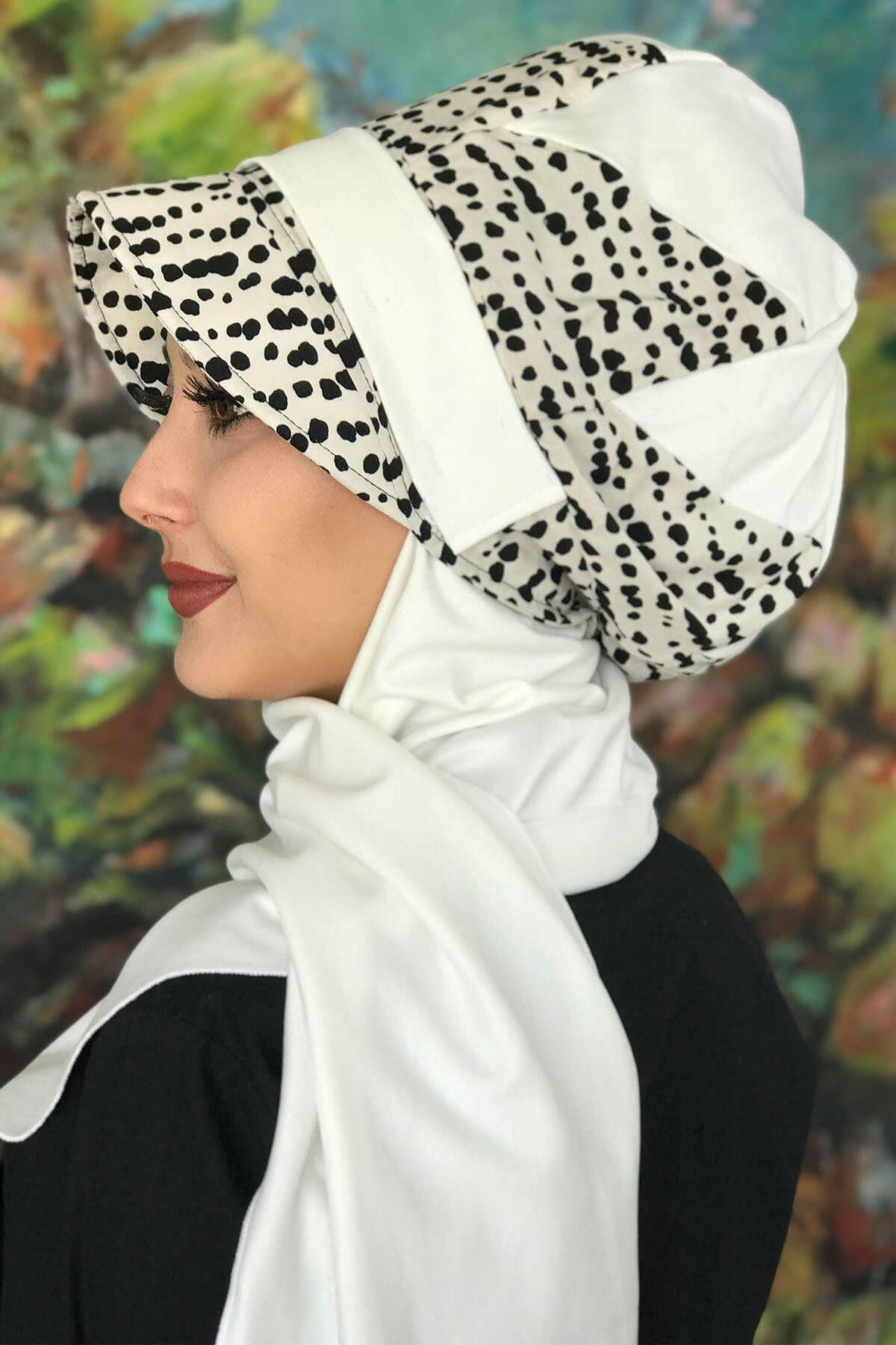 Siyah Benekli Tokalı Çarkıfelek Beyaz Atkılı Şapka