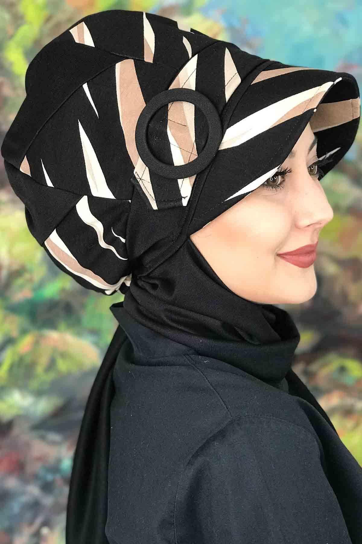 Siyah Bej Çizgili Tokalı Çarkıfelek Siyah Atkılı Şapka
