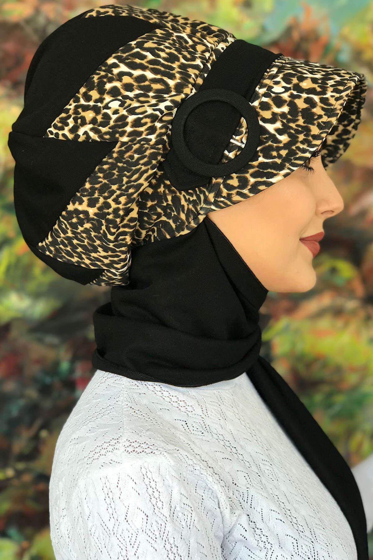 Bad-ı Saba Leoparlı Çarkıfelek Tokalı Siyah Atkılı Şapka