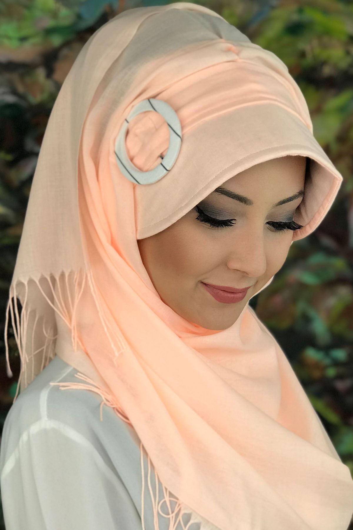 Sayf  Model Açık Somon Tokalı Şapka Şal