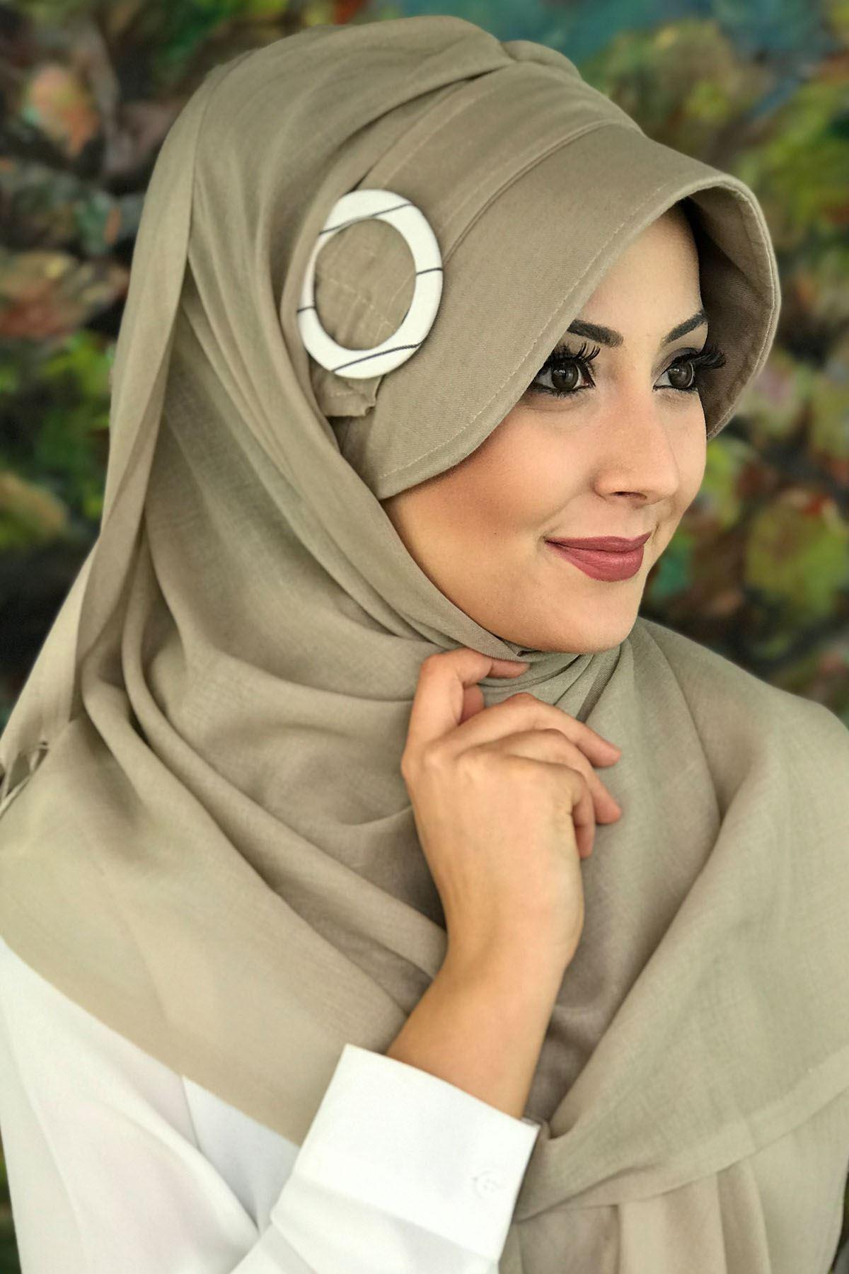 Sayf  Model Vizon Renkli Tokalı Şapka Şal
