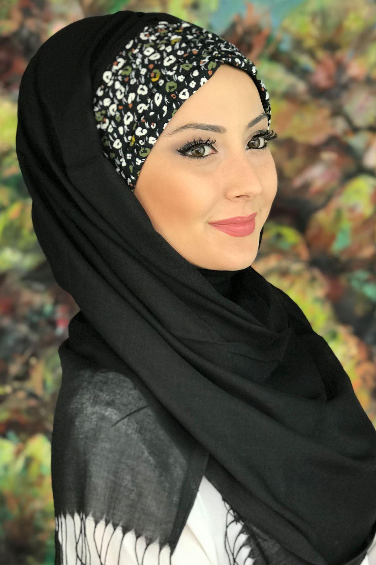 Sayf Model Beyaz Yapraklı Siyah Büzgülü Hazır Şal