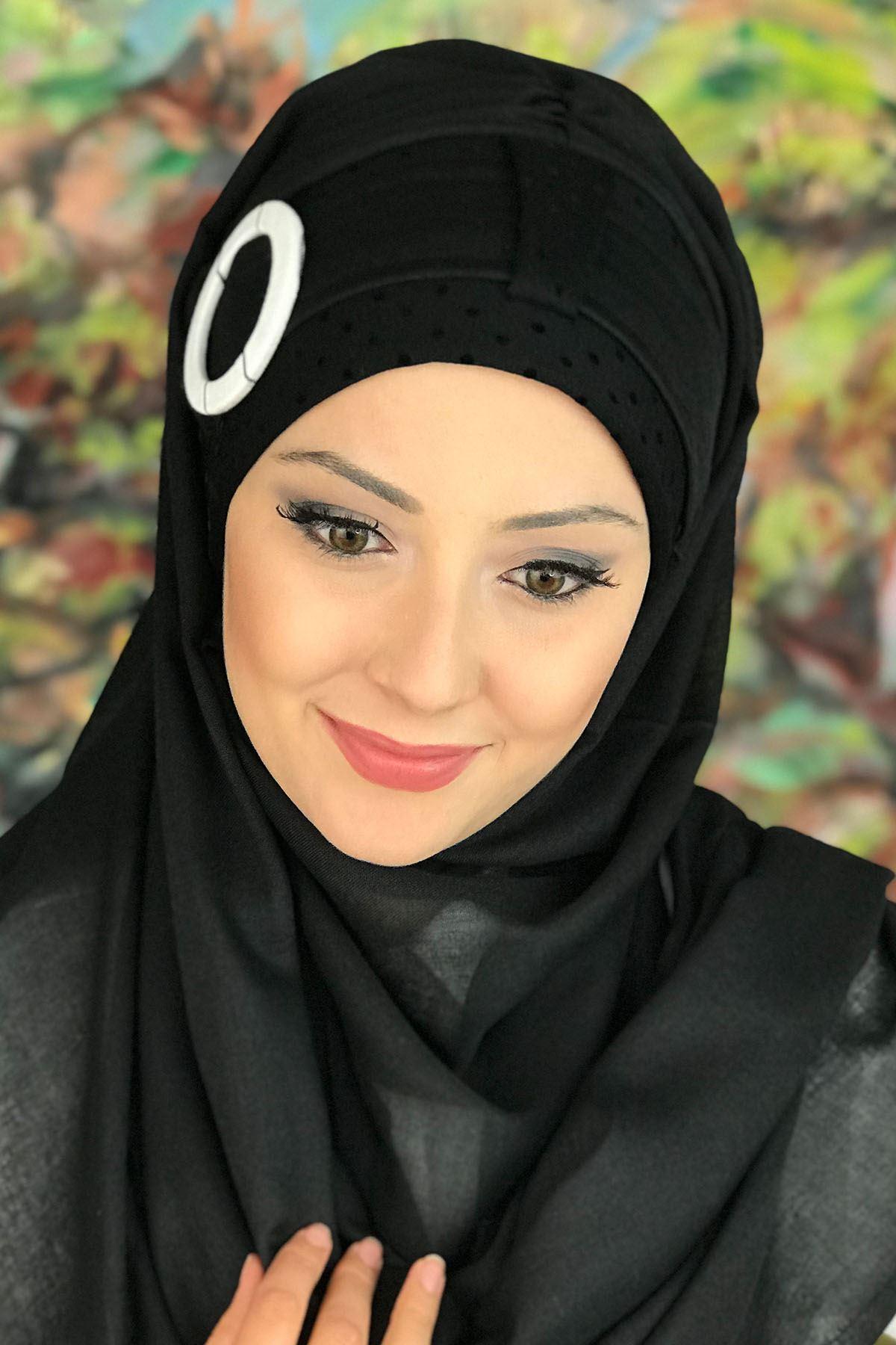 Sayf Model Siyah Benekli Renkli Tokalı Kemerli Hazır Şal
