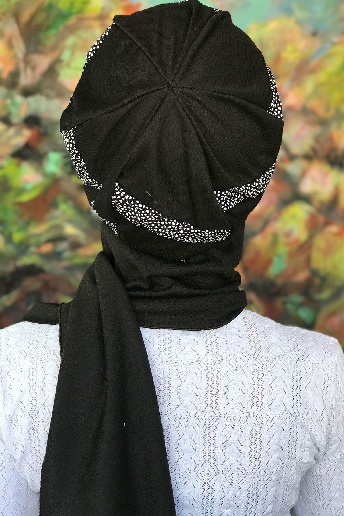 Beyaz Noktalı Şerit Detaylı Tokalı Siyah Atkılı Bone Şal