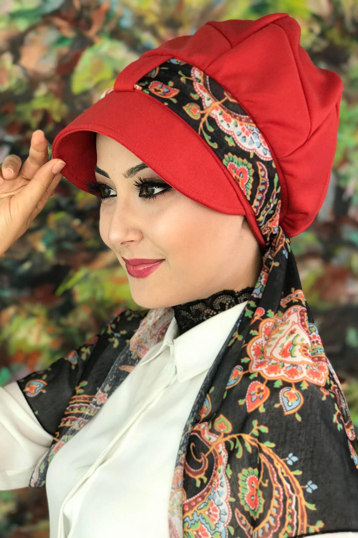 Nar Çiçeği Renkli Tek Biritli Etnik Desenli Fularlı Şapka