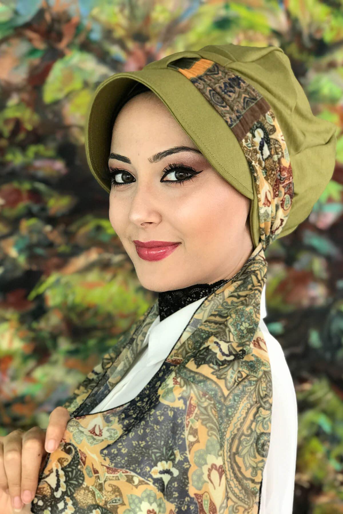 Kına Yeşili Renkli Tek Biritli Etnik Desenli Fularlı Şapka