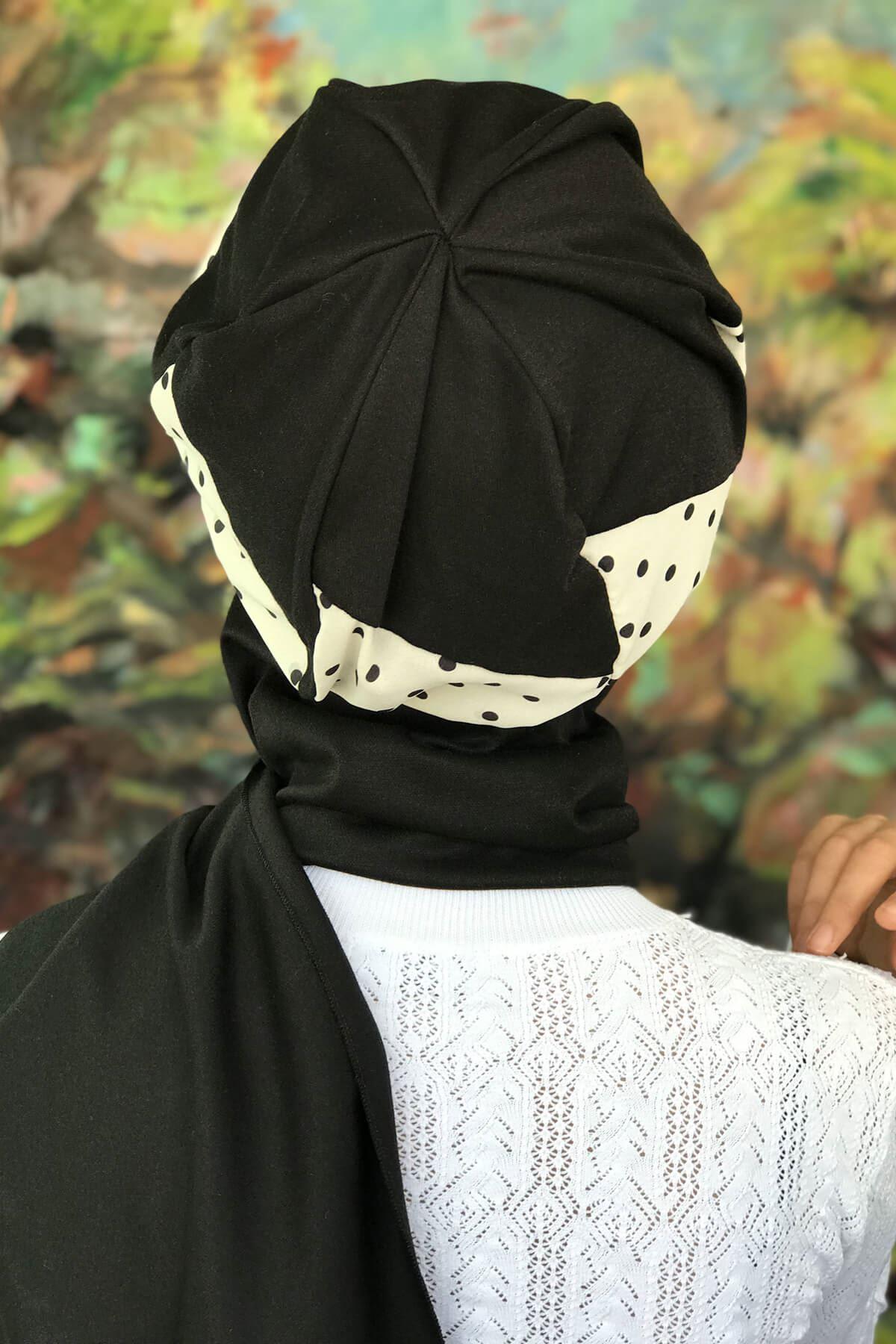 Siyah Benekli Kırık Beyaz Tesettür Atkılı Şapka