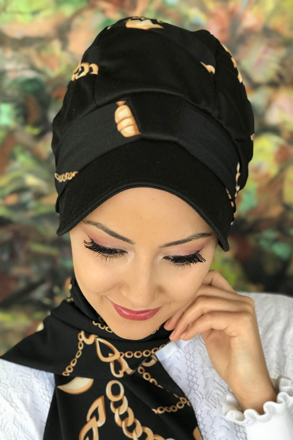 Siyah Zincir Desen Tek Biritli Fularlı Şapka