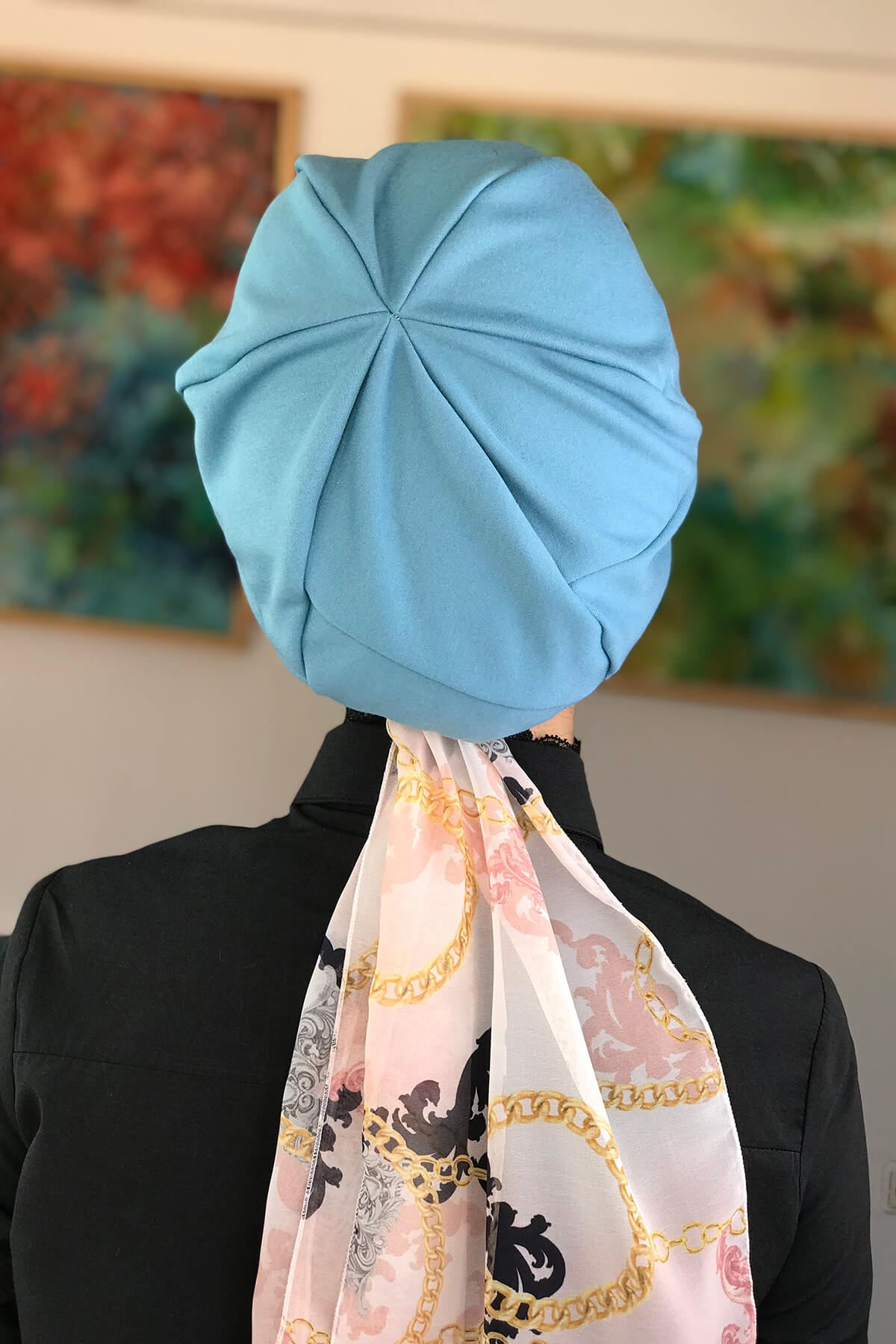 Gök Mavi Tek Biritli Tesettür Şapka Bone