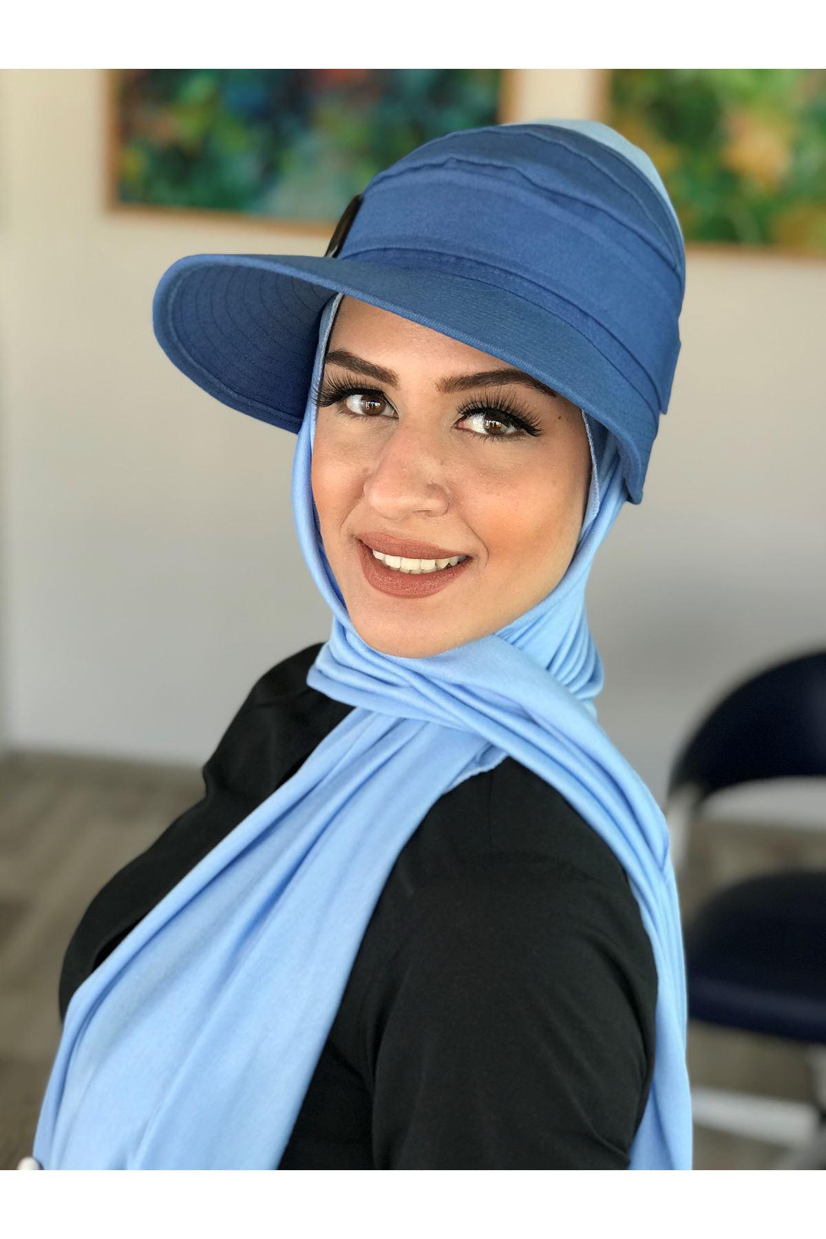 Mavi Spor Şapkalı Bone