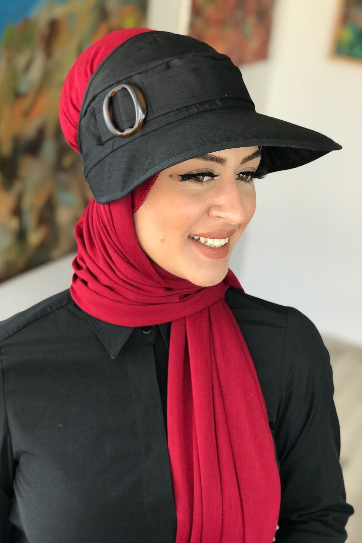 Siyah Tesettür Şapka Spor