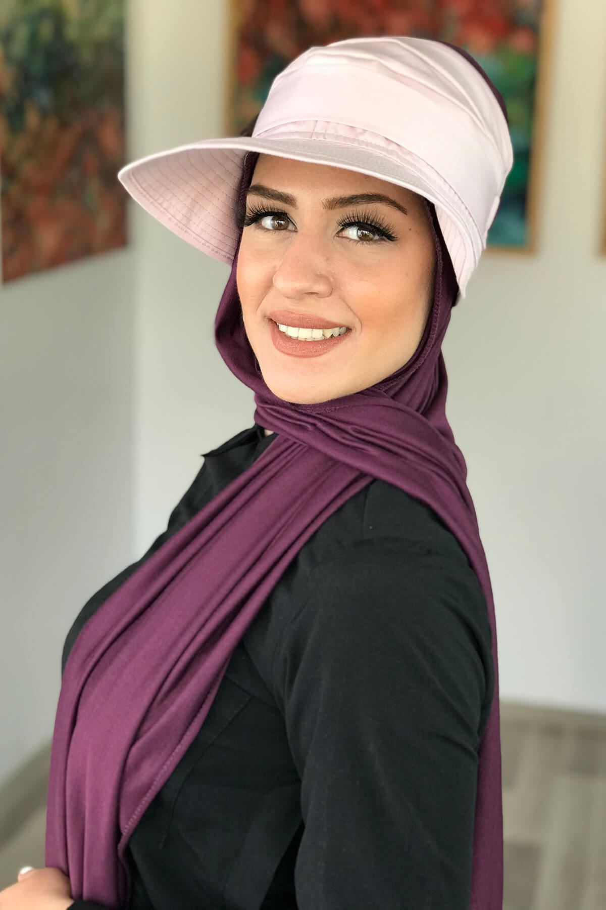 Pudra Rengi Tesettür Kadın Şapka