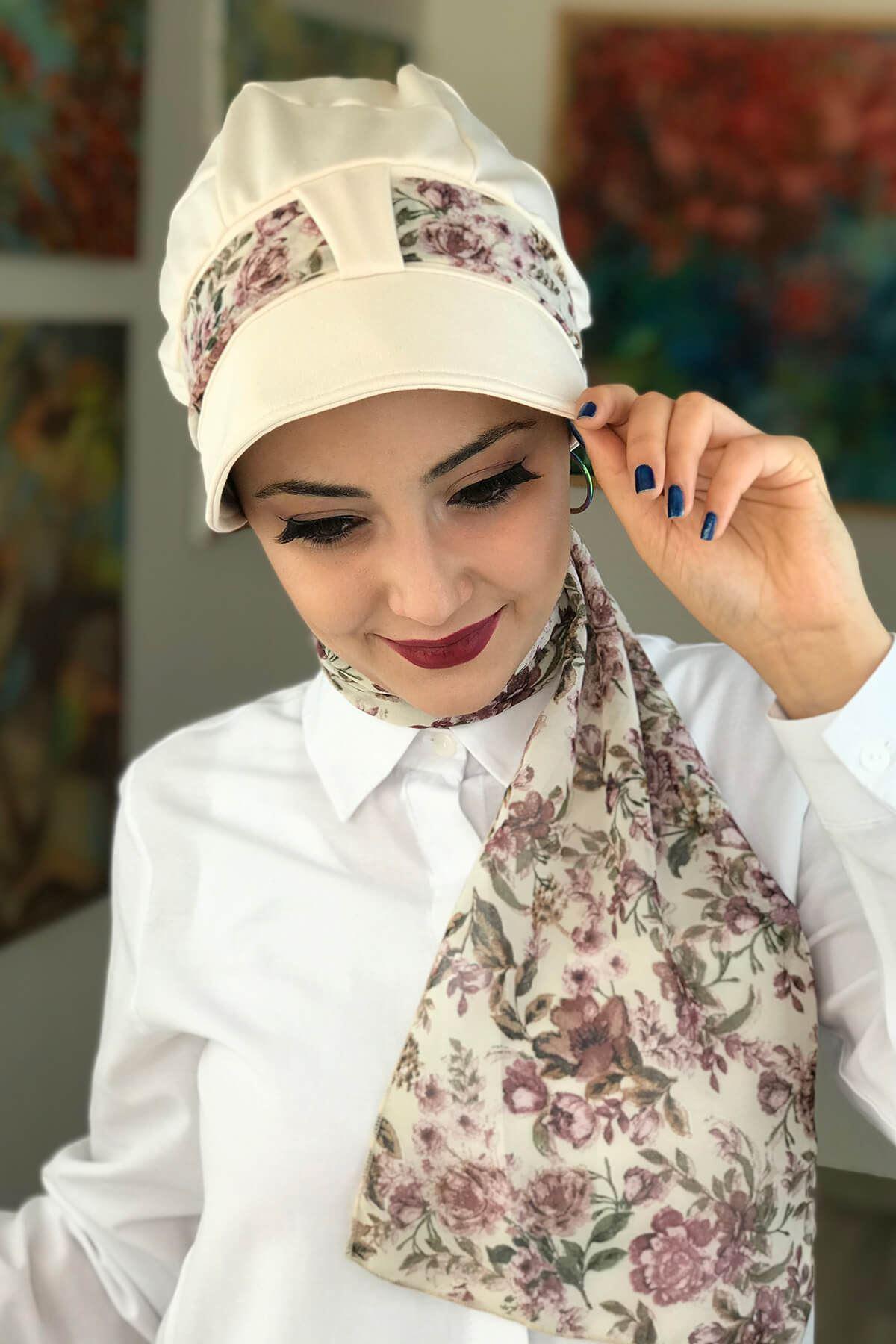 Krem Rengi Tek Biritli Fularlı Şapka Bone