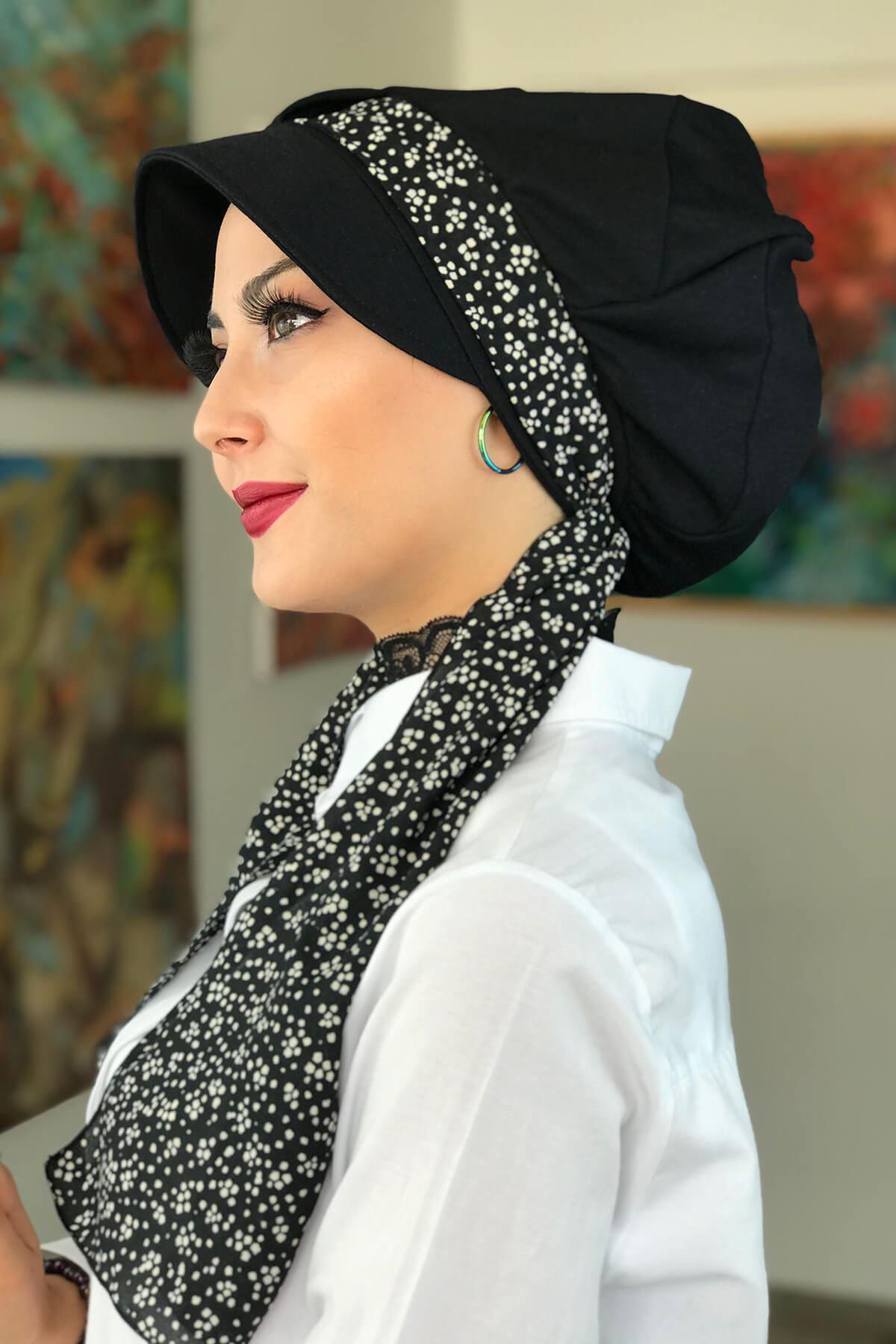 Siyah Biritli Fularlı Şapka