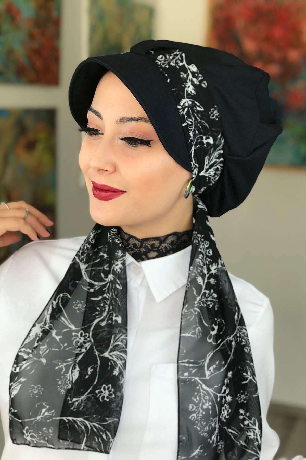 Siyah Biritli Fularlı Tesettür Şapka Bone