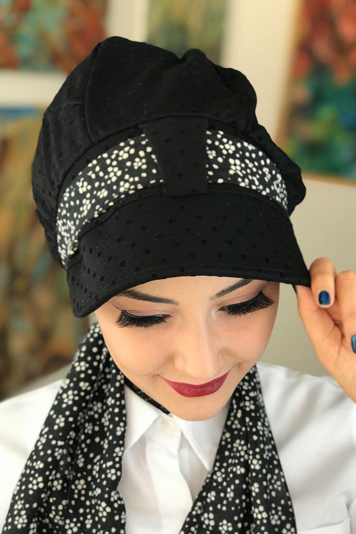 Siyah Puantiyeli Fularlı Şapka Bone