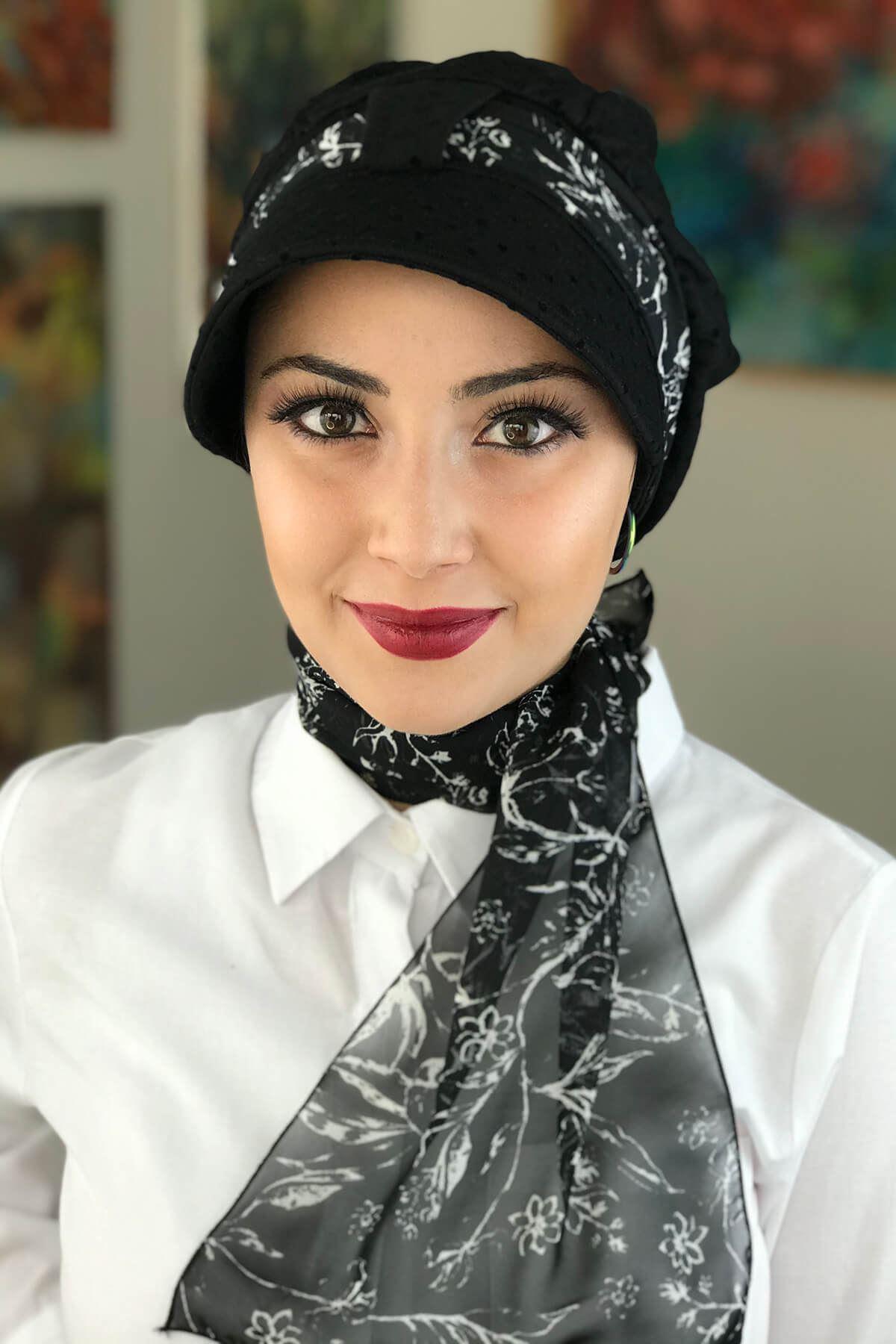 Siyah Pauntiyeli Tek Biritli Fularlı Şapka