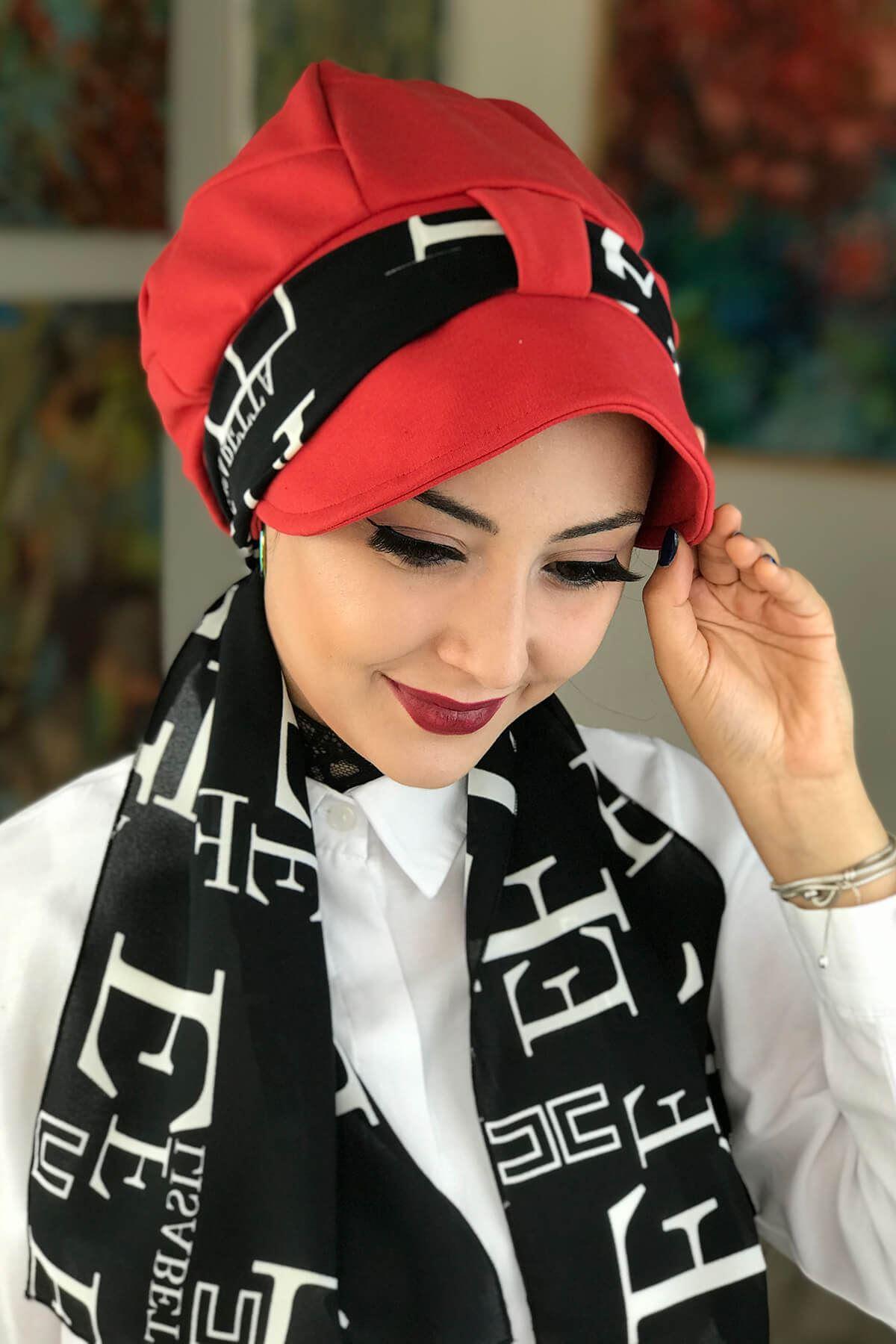 Kırmızı Biritli Fularlı Tesettür Şapka Bone