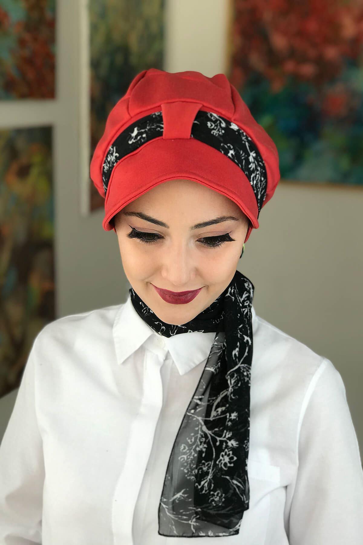Kırmızı Biritli Fularlı Şapka Bone